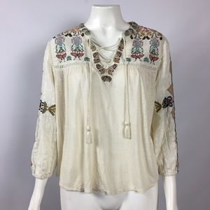 BoHo Embroidered Top Size Small